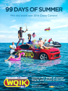 "A poster promoting 99.1 WQIK's annual promotion, ""99 Days of Summer,"" wherein they gave away a brand new Camaro. The flyer was designed to catch attention, illicit feelings of summer adventure with the hosts of 99.1 WQIK, and raise awareness for the promotion."