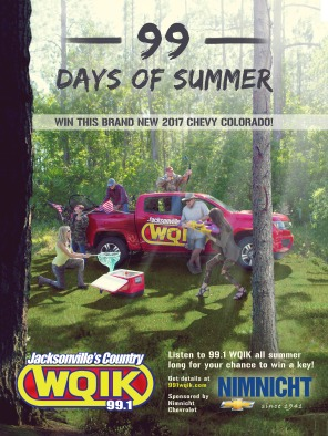 "A poster promoting 99.1 WQIK's annual promotion, ""99 Days of Summer,"" wherein they gave away a brand new Colorado. The flyer was designed to catch attention, illicit feelings of summer adventure with the hosts of 99.1 WQIK, and raise awareness for the promotion. Diverging from the water themes of 2016, this poster took WQIK into a woodsy, camping atmosphere."