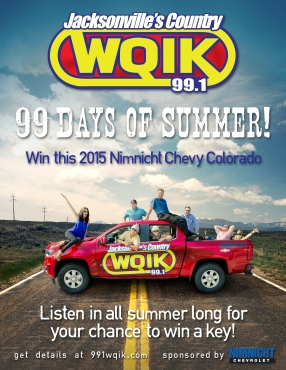 "A poster promoting 99.1 WQIK's annual promotion, ""99 Days of Summer,"" wherein they gave away a brand new Colorado, The flyer was designed to catch attention, illicit feelings of summer adventure with the hosts of 99.1 WQIK, and raise awareness for the promotion."