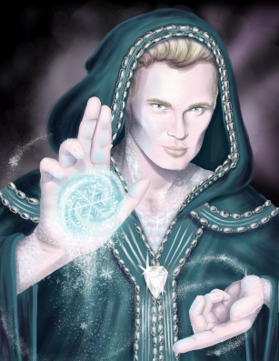 This is a commissioned illustration of Jesobii, a sorcerer character from Dungeons and Dragons with white draconic resilience.