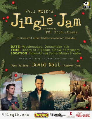 A flyer promoting 99.1 WQIK's Jingle Jam, a holiday-themed country music concert benefiting the amazing work of St. Jude Children's Hospital.
