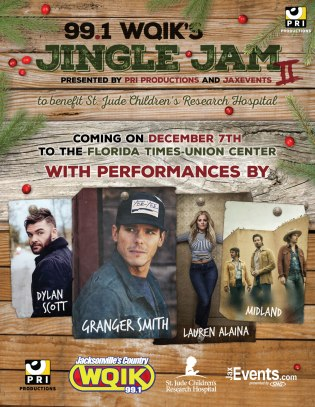 A flyer promoting 99.1 WQIK's Second Annual Jingle Jam, a holiday-themed country music concert benefiting the amazing work of St. Jude Children's Hospital.