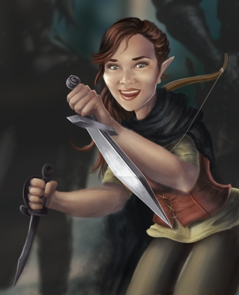 This is a commissioned illustration of Lavinia Thorngage, a peppy halfling rogue character from Dungeons and Dragons.