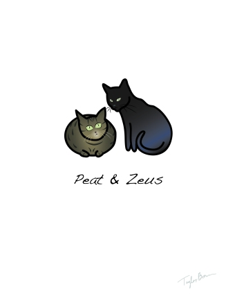 A simple digital illustration of two pet cats, belonging to the recipient of this gift.