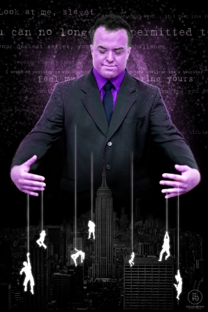 "A photo manipulation transforming Ben Frazier, cosplaying as Zebediah Killgrave, ""The Purple Man,"" into a dramatic character rendering. Shout out to the good people of Unsplash for providing the image of New York City."