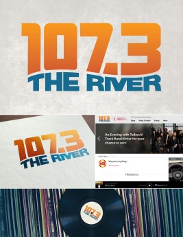 "This is the final logo concept chosen for Jacksonville's 107.3 The River radio station, complete with a hero image design used online for the website's ""Music Room."""