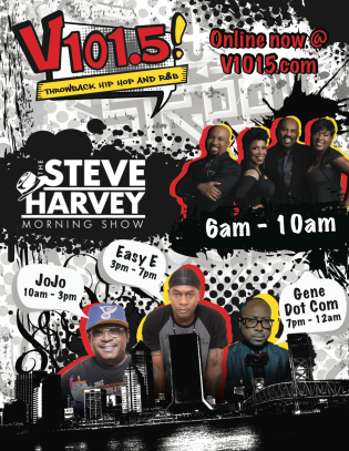 A print ad for the Jacksonville's throwback hip-hop radio station, V101.5, showcasing the DJ line-up and conveying the radio station's tone.
