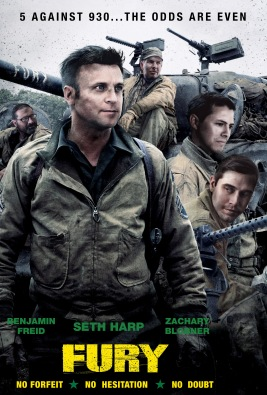 "A commissioned image wherein the faces on the movie poster for ""FURY"" (2014) were replaced by those of SportsRadio 930. This image was used as an allegory for the team's challenges ahead, and decorated the walls as a daily source of inspiration."