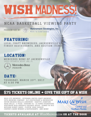 Flyer commissioned to promote Wish Madness, a local craft beer and March Madness watch party supporting the work done by Make a Wish Foundation.