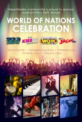 A print ad highlighting iHeartMedia's support of the 24th Annual World of Nations Celebration